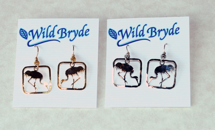Photo of feeding crane earrings